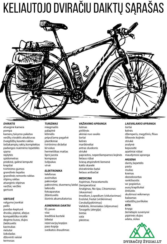Kelionės dviračiu daiktų sąrašas ir atmintinė